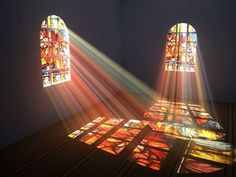 Picture of Interior of a room with stained glass windows stock photo, images and stock photography. Aesthetic Art, Aesthetic Pictures, Stained Glass Windows, Light And Shadow, Art And Architecture, Pretty Pictures, Wall Collage, Oeuvre D'art, Aesthetic Wallpapers
