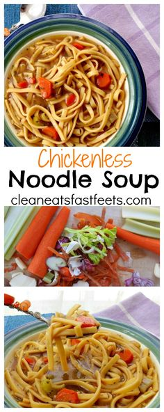 A warm and inviting bowl of Chicken Noodle Soup, without the actual chicken. This vegetarian substitute will make you forget the original.