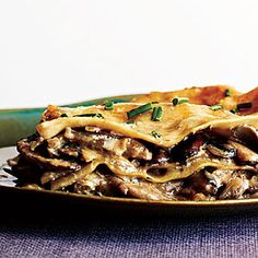 Mushroom Lasagna from Cooking Light Rich porcini broth and nutty Parmigiano-Reggiano add deep umami taste to this vegetarian lasagna. Plain white button mushrooms will work in place of cremini. Serve with a simple green salad for a satisfying meal. Healthy Lasagna Recipes, Baked Pasta Recipes, Vegetarian Recipes, Cooking Recipes, Easy Recipes, Recipe Pasta, Diy Recipe, Recipe Chicken, Garlic Chicken