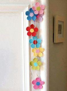 52 Ideas For Crochet Flowers Garland Girl Rooms Crochet Bunting, Crochet Garland, Crochet Decoration, Crochet Home Decor, Crochet Flower Patterns, Love Crochet, Crochet Motif, Diy Crochet, Crochet Designs