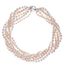 L.K. Bennett Powder Necklace (£65) ❤ liked on Polyvore featuring jewelry, necklaces, accessories, pink, pearls, spiral necklace, pink necklace, pearl jewelry, pearl necklace и layered chain necklace