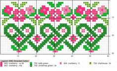 Hermoso diseño de corazones y flores en punto de cruz | Punto de cruz - Colección de patrones punto de cruz gratis.