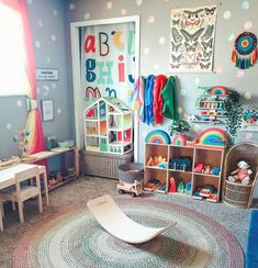 Grimms Rainbow, Toy Storage, Storage Ideas, Toddler Activities, Wooden Toys, Montessori, Playroom, Kids Rugs, Dots