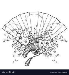 Fan with floral decoration Royalty Free Vector Image Japanese Tattoo Art, Japanese Tattoo Designs, Japanese Sleeve Tattoos, Fan Tattoo, Cute Tattoos, Body Art Tattoos, Family Sleeve Tattoo, Design Tradicional, Hannya Tattoo