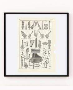 Antique ancient musical instruments print from Harpsichord vielle fiddle spinet celtic harp. Gifts for music teacher. Teacher Message, Music Teacher Gifts, Gift Guide For Men, Musician Gifts, Free Prints, Harp, Musical Instruments, Celtic, Musicals