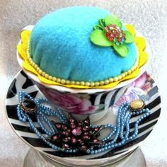 Tea Cup Pin Cushion by sweetvioletlane for $10.00