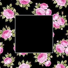 Seamless pattern of rose flowers bouquet over black and empty rectangle at the center. Botanical Decor, Free Digital Scrapbooking, Rose Flowers, Free Photos, Peony, Empty, Floral Design, Wedding Invitations, Bouquet