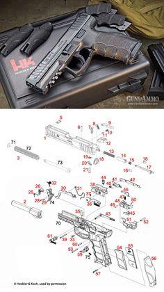 Heckler & Koch VP9 Pistol Semi Auto Firearm Handgun Schematic