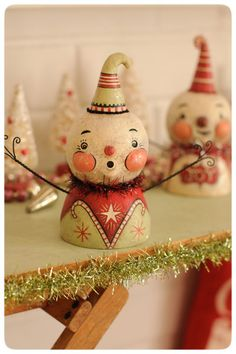 One of a kind snowmen busts by Johanna Parker at her 9th Annual Holiday Folk Art Show & Open House