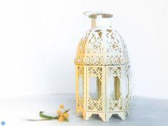 Unique Vintage Outdoor Lantern/ Shabby Cottage Chic Spring Decor/ French Creamy White Candle Holder/ Beach wedding lantern/ SALE 50% OFF