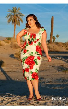 Erika Dress with Bolero in Vintage Red Rose - Plus Size