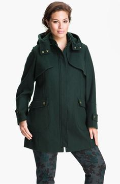 Vince Camuto Wool Blend Jacket with Detachable Hood (Plus) available at #Nordstrom