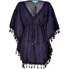 Melissa Odabash Navy Embroidered Short Caftan Sharize