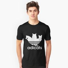 'Copy of Copy of Copy of Adicat - Addicted to cats ' T-Shirt by rachidDesigner Pet Lovers, Cat Design, Best Brand, Tshirt Colors, Funny Cats, V Neck T Shirt, Classic T Shirts, Addiction, Adidas
