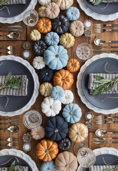 Thoughtful Thanksgiving Party Decoration Ideas Every Hostess Would Love Multicolored Pumpkins For Thanksgiving Dinner Table Decor Thanksgiving Table Settings, Thanksgiving Centerpieces, Thanksgiving Parties, Thanksgiving Crafts, Happy Thanksgiving, Fall Table Settings, Thanksgiving Dinner Tables, Thanksgiving Vegetables, Thanksgiving Salad