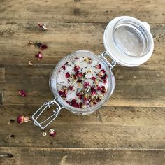 Soak away the stress - We show you how to make our own Floral Bath Salts with Roses, Chamomile, Lavender and a blend of Essential Oils. Pin this DIY Beauty Recipe for Later!