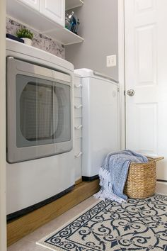 Laundry Room Makeover and organization - Ideas for making a very small laundry room with storage and cabinet. Small Laundry Rooms, Laundry Room Design, Laundry In Bathroom, Laundry Closet Organization, Laundry Room Organization, Organization Ideas, Organizing, Storage Ideas, Laundry Room Remodel