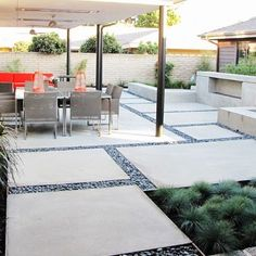 Concrete Pavers - instead of gravel as fillers do grass - backyard