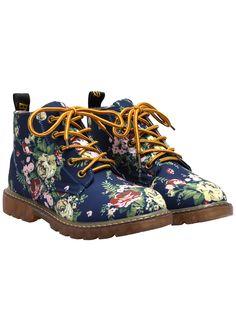 Botas chunky heel flores casual -azul 32.53
