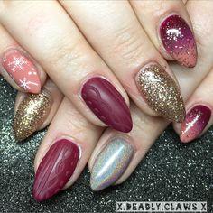 Nail art gel nails acrylic nails sweater nails pointed nails almond nails round nails coffin nails nail inspo