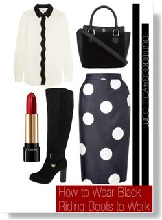 Black riding boots are fashionable, sassy and quite daring for the office, but we have just the way to take out a little of the sass and make it classy. Take care of business by adding a fun patterned knee-length pencil skirt and solid colored blouse. If you want to be bold add a fun red color to th