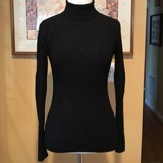 Bebe Black Ribbed Turtleneck Sweater XS This is a very pretty long sleeve black turtleneck sweater from Bebe in a size XS.  It is made of a nylon & spandex blend & it is super warm & comfy.  It is great for layering & looks great with jeans or leggings.  It has been worn quite a bit but is still in nice condition.  There is some slight piling from washing & there is a small area on the left sleeve that was sown due to a small hole.  It is barely noticeable (see 3rd photo). bebe Sweaters Cowl…