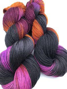 Midnight Special- Hand dyed yarn, sock weight, Superwash Merino, 463 yards