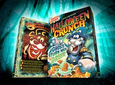 Here's the newest addition to the Halloween Crunch lineup, complete with color changing milk and zombified Cap'n! Snack Recipes, Snacks, Pop Tarts, Lunch Box, Cereal Boxes, Pumpkin, Packaging, Halloween, Projects
