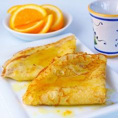 We have a Christmas tradition: crepes for breakfast every year. This year we have an orange tree in our backyard with plenty of oranges that should be ripe about Christmas time. Can't wait to try! Bite Size Desserts, Just Desserts, Breakfast Recipes, Dessert Recipes, Breakfast Sushi, Breakfast Buffet, Crepes And Waffles, Crepe Recipes, Love Food