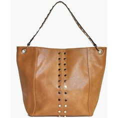 Boohoo Willow Stud Detail Shopper Bag ($12) ❤ liked on Polyvore featuring bags, handbags, tote bags, shopper purse, shopper tote handbags, shopper handbags, shopping bag and studded purse