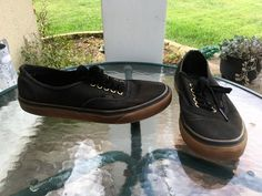 Mens VANS Off the Wall Black Canvas Lace-Up Fashion Sneakers Walking Shoes 9   eBay