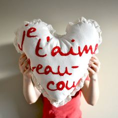 """Je taime beaucoup"" - ""I love you"" in French - Valentine's Day Heart Embroidery Pillow from Aldari Art Studio."