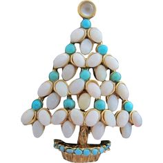 Vintage Costume Jewelry - SWOBODA Opal & Turquoise Christmas Tree Pin