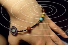 MiniVerse - Solar System Bracelet - Proportional Distances in Glass, Stone and Shell - SMALL (7.5in) - Beadwork - Planets - Chain of Being on Etsy, $24.50