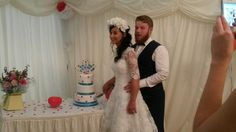 Amy chose our special offer wedding cake and personlised it with a heart and letters topper.  Beautiful picture!
