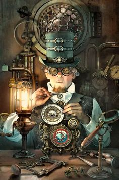 Safari Steampunk Anyone? Steampunk is a rapidly growing subculture of science fiction and fashion. Design Steampunk, Steampunk Kunst, Viktorianischer Steampunk, Steampunk Artwork, Steampunk Gadgets, Steampunk Costume, Steampunk Clothing, Steampunk Fashion, Steampunk Makeup