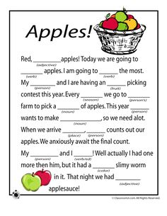 Fall Mad Libs for Kids Fall Mad Libs - Apples – Classroom Jr. - been doing these all evening and cracking up with the kiddos