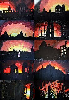 Bush fire / fire Art - use a range of media, like paint, charcoal, paper, etc. School Displays, Classroom Displays, Art Classroom, Classroom Ideas, Great Fire Of London, The Great Fire, World War 2 Display, Remembrance Day Art, Ww1 Art