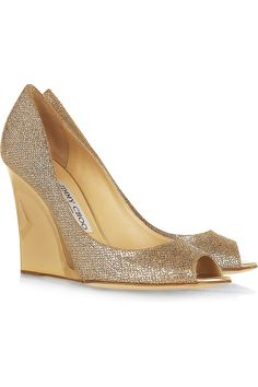 Yes please: JIMMY CHOO  Bello glitter-finish twill wedge pumps. Only €425 ;-)