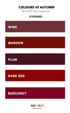 Autumn Color Palette of Wine + Maroon + Plum + Dark Red and Burgundy Pret., Pretty Autumn Color Palette of Wine + Maroon + Plum + Dark Red and Burgundy Pret. Plum Color Palettes, Burgundy Colour Palette, Deep Autumn Color Palette, Burgandy Color, Wine Red Color, Red Color Schemes, Colour Pallette, Bedroom Color Schemes, Red Wine