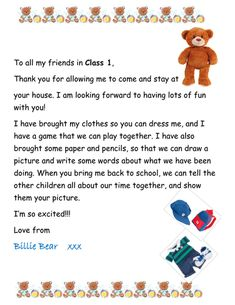 Taking The Class Teddy Bear Home Teaching Babies, Primary Teaching, Teaching Resources, Classroom Pets, Infant Classroom, Notes To Parents, Letter To Parents, Eyfs Activities, Book Activities