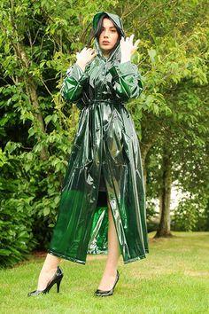 Vinyl Raincoat, Pvc Raincoat, Plastic Raincoat, Hooded Raincoat, Hooded Cloak, Girls Raincoat, Raincoat Outfit, Green Raincoat, Outfits