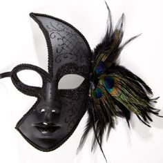 Black Venetian Feather Face Mask