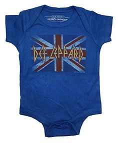 Def Leppard Union Jack Unisex Baby Onesie Blue 18 Months ** Details can be found by clicking on the image.