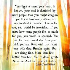 Your light is seen, your heart is known, your soul is chershed...Rest with that. You're doing great... Relax. Neale Donald Walsch