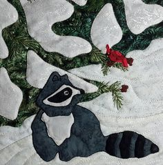 Cindy Thomas His Majesty The Tree December block center detail of raccoon and cardinal applique and embroidery