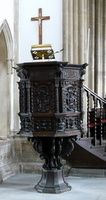 The 17th century carved wooden pulpit   Put in this church when my ancestors were there Wells, St. Cuthberts, Somerset England
