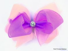 Pink, and light orchid organza hair bow