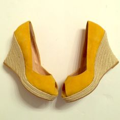 Adorable Yellow Wedges Mustard yellow wedges in amazing condition never worn. Size 9. Peep toes. Slight minor wear on Seude tops from sitting in closet as seen in last pic hardly noticeable Colin Stuart Shoes Wedges
