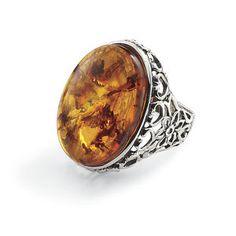 $60 Baroque Amber Ring - Women's Clothing & Symbolic Jewelry – Sexy, Fantasy, Romantic Fashions